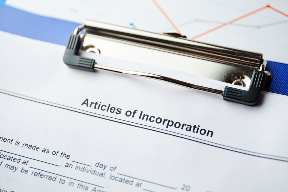 Paper with headline Articles of Incorporation